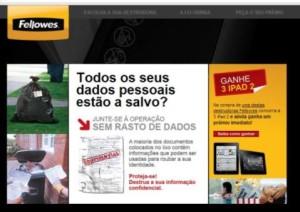Promoção online destruidoras Fellowes. Agência: Hamlet B2B - Cliente: Fellowes Ibérica