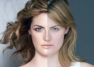 Mulher com e sem maquilhagem e photoshop do anúncio Real Beauty da Dove